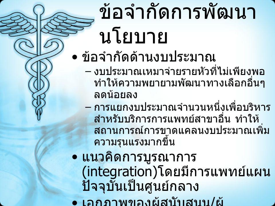 แนวโน้มข้อเสนอฯ การแยกกระบวนการตัดสินใจจาก ระดับหน่วยบริการเป็นระดับจังหวัด – การจัดตั้งกองทุนชดเชยการให้บริการ การแพทย์แผนไทยระดับจังหวัดโดยกัน จากงบที่จัดสรรให้หน่วยบริการ สนับสนุนพื้นที่ที่มีการจัด / การใช้ บริการการแพทย์แผนไทยเกิน ค่าเฉลี่ย – จัดสรรงบเพิ่มเติมให้จังหวัดที่มีการใช้ บริการเกินค่าเฉลี่ย พัฒนาระบบการประกันคุณภาพ บริการ การส่งเสริมการให้บริการ อย่างสมเหตุผล – สร้างความมั่นใจเรื่องความปลอดภัย ประสิทธิผล