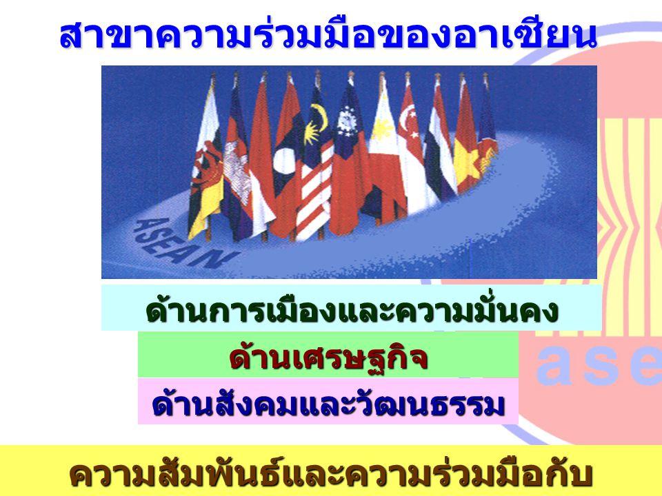 ด้านการเมืองและความมั่นคง ด้านเศรษฐกิจ ด้านสังคมและวัฒนธรรม ความสัมพันธ์และความร่วมมือกับ ประเทศภายนอก สาขาความร่วมมือของอาเซียน