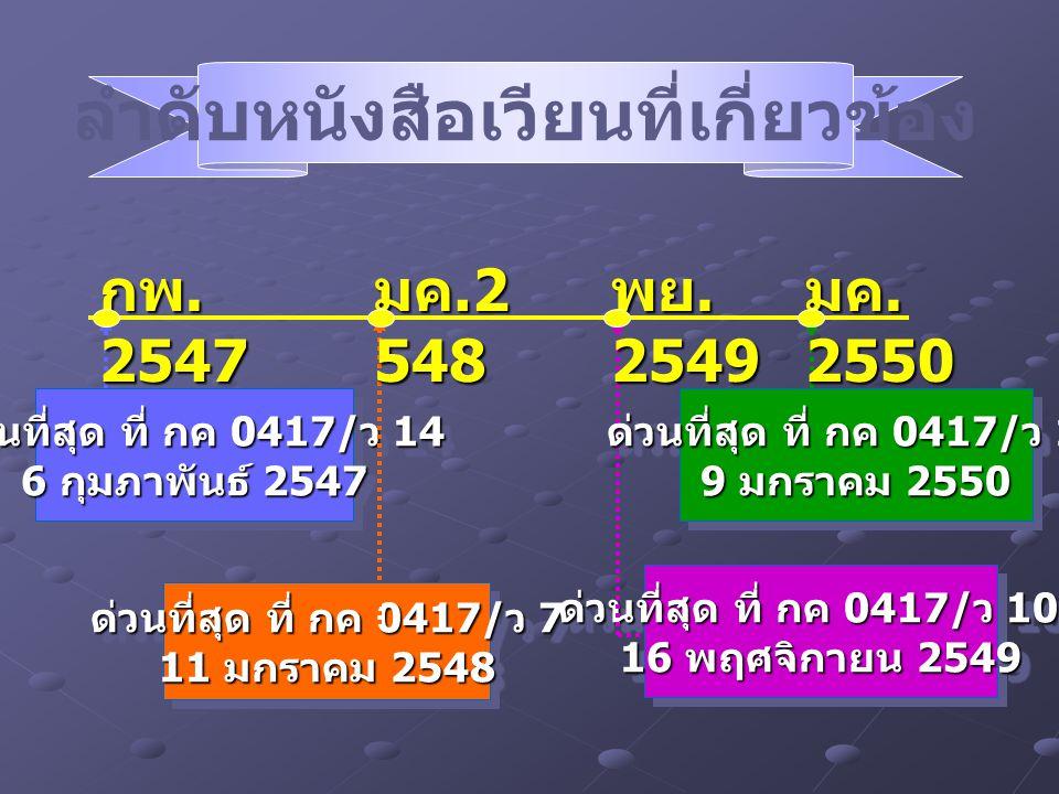 ด่วนที่สุด ที่ กค 0417/ ว 14 6 กุมภาพันธ์ 2547 ด่วนที่สุด ที่ กค 0417/ ว 14 6 กุมภาพันธ์ 2547 ด่วนที่สุด ที่ กค 0417/ ว 7 11 มกราคม 2548 ด่วนที่สุด ที
