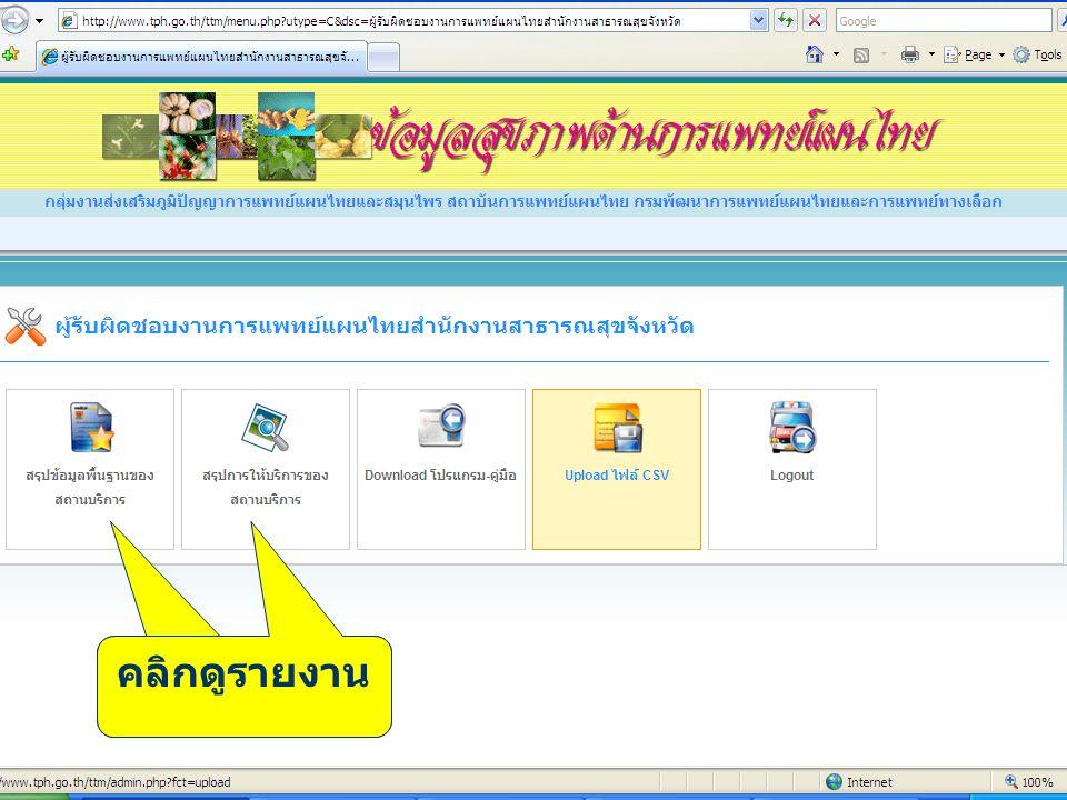 การส่งข้อมูลผ่าน www.thcc.or.th คลิกดูรายงาน