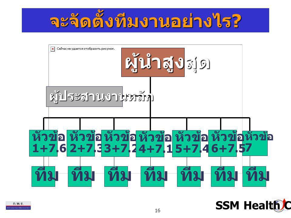 16 ผู้นำสูงสุด ทีม หัวข้อ 1+7.6 หัวข้อ 2+7.3 หัวข้อ 3+7.2 หัวข้อ 5+7.4 หัวข้อ 7 หัวข้อ 6+7.5 หัวข้อ 4+7.1 ผู้ประสานงานหลัก SSM Health Care จะจัดตั้งที