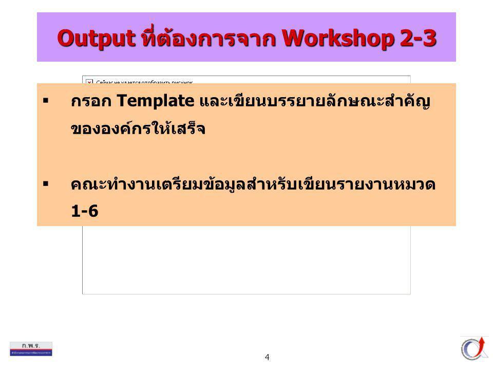 4 Output ที่ต้องการจาก Workshop 2-3  กรอก Template และเขียนบรรยายลักษณะสำคัญ ขององค์กรให้เสร็จ  คณะทำงานเตรียมข้อมูลสำหรับเขียนรายงานหมวด 1-6