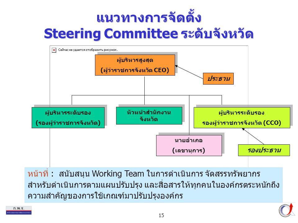 15 แนวทางการจัดตั้ง Steering Committee ระดับจังหวัด ผู้บริหารสูงสุด (ผู้ว่าราชการจังหวัด CEO) ผู้บริหารสูงสุด (ผู้ว่าราชการจังหวัด CEO) ผู้บริหารระดับรอง (รองผู้ว่าราชการจังหวัด) ผู้บริหารระดับรอง (รองผู้ว่าราชการจังหวัด) หัวหน้าสำนักงาน จังหวัด ผู้บริหารระดับรอง รองผู้ว่าราชการจังหวัด (CCO) ผู้บริหารระดับรอง รองผู้ว่าราชการจังหวัด (CCO) หน้าที่ : สนับสนุน Working Team ในการดำเนินการ จัดสรรทรัพยากร สำหรับดำเนินการตามแผนปรับปรุง และสื่อสารให้ทุกคนในองค์กรตระหนักถึง ความสำคัญของการใช้เกณฑ์มาปรับปรุงองค์กร ประธาน รองประธาน นายอำเภอ (เลขานุการ) นายอำเภอ (เลขานุการ)