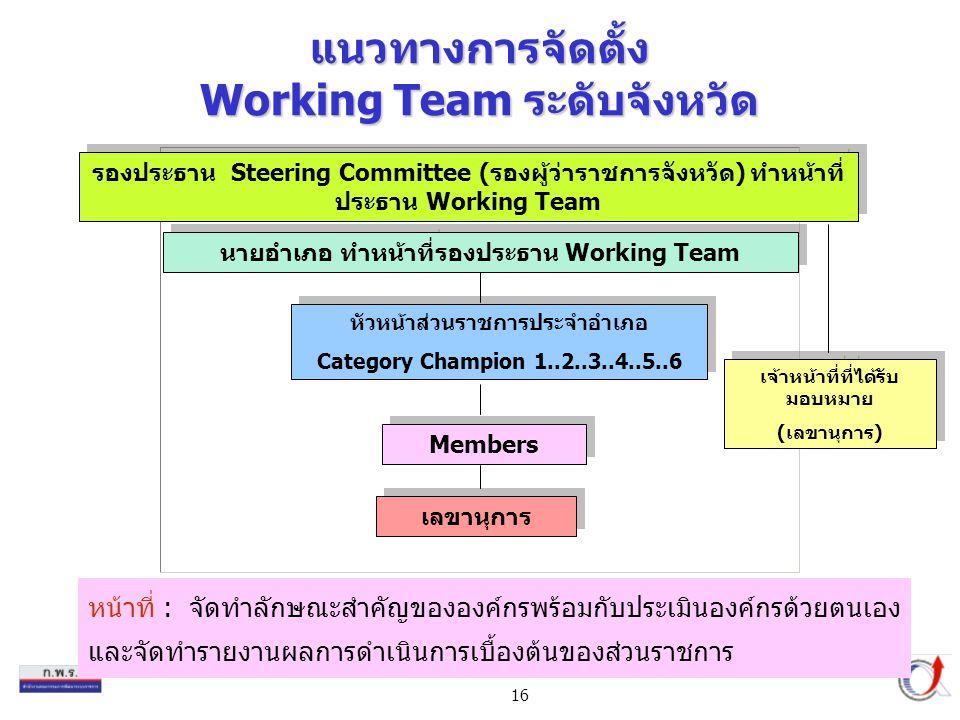 16 แนวทางการจัดตั้ง Working Team ระดับจังหวัด หน้าที่ : จัดทำลักษณะสำคัญขององค์กรพร้อมกับประเมินองค์กรด้วยตนเอง และจัดทำรายงานผลการดำเนินการเบื้องต้นของส่วนราชการ หัวหน้าส่วนราชการประจำอำเภอ Category Champion 1..2..3..4..5..6 หัวหน้าส่วนราชการประจำอำเภอ Category Champion 1..2..3..4..5..6 Members รองประธาน Steering Committee (รองผู้ว่าราชการจังหวัด) ทำหน้าที่ ประธาน Working Team นายอำเภอ ทำหน้าที่รองประธาน Working Team เลขานุการ เจ้าหน้าที่ที่ได้รับ มอบหมาย (เลขานุการ) เจ้าหน้าที่ที่ได้รับ มอบหมาย (เลขานุการ)