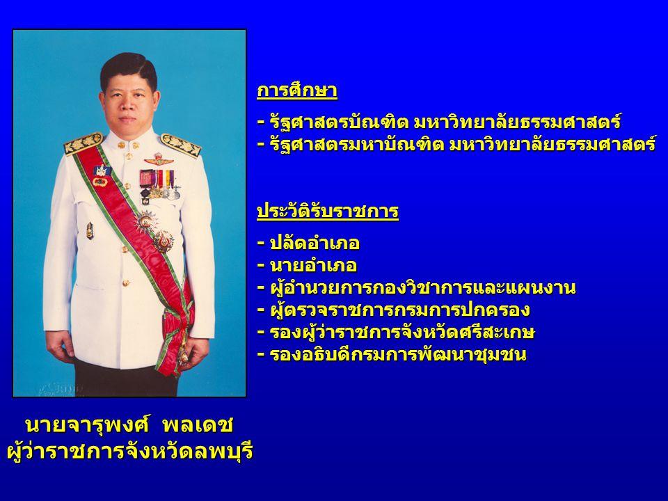 นายจารุพงศ์ พลเดช ผู้ว่าราชการจังหวัดลพบุรี การศึกษา - รัฐศาสตรบัณฑิต มหาวิทยาลัยธรรมศาสตร์ - รัฐศาสตรมหาบัณฑิต มหาวิทยาลัยธรรมศาสตร์ ประวัติรับราชการ
