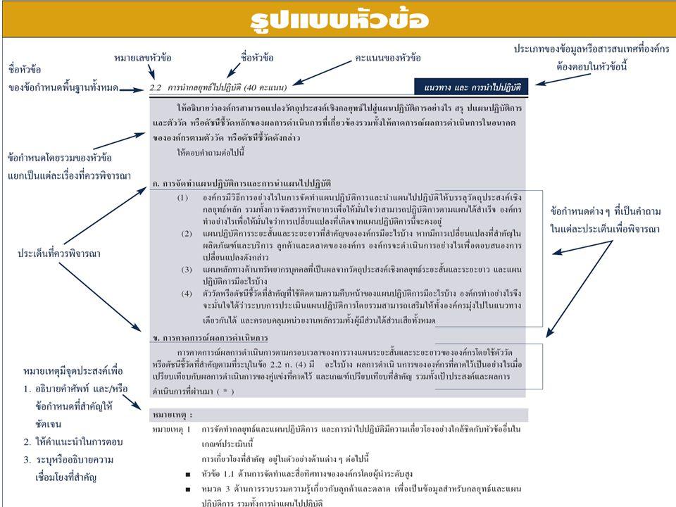 8 ประเภทคำถาม : อะไร / อย่างไร อะไร (WHAT)  ข้อมูลพื้นฐานเกี่ยวกับกระบวนการหลักและวิธี ปฏิบัติงานของกระบวนการนั้น  ผล แผนงาน เป้าประสงค์ วัตถุประสงค์ หรือ ตัวชี้วัดที่สำคัญ อย่างไร (HOW)  ให้ข้อมูลของกระบวนการที่สำคัญ เช่น วิธีการ ตัวชี้วัด การนำไปปฏิบัติ และปัจจัยด้านการ ประเมินผล การปรับปรุงและการเรียนรู้ คำถาม เปรียบเสมือนข้อชี้แนะให้ พิจารณา ในการปฎิบัติงาน