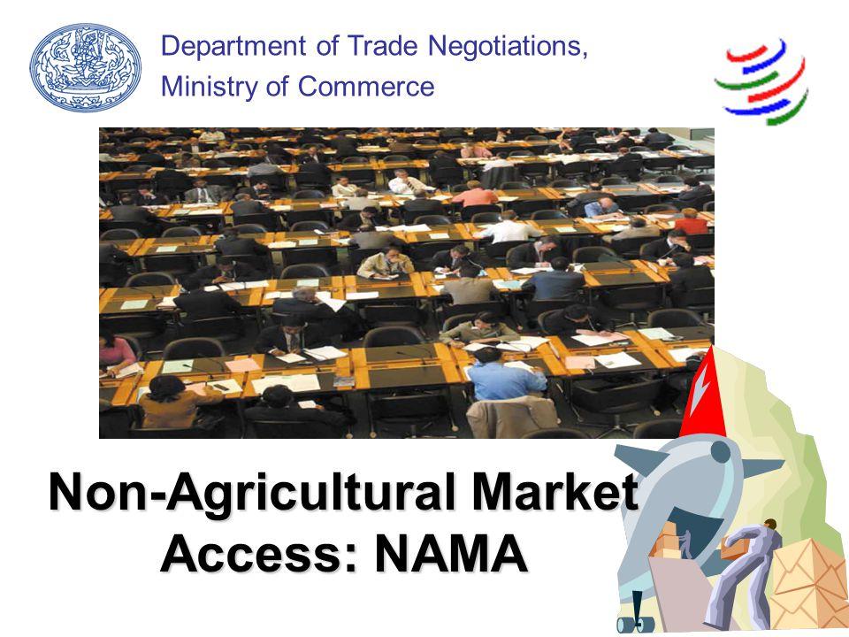Outline of Presentation ปฏิญญารัฐมนตรีสมาชิก WTO (The Mandate) ประเด็นสำคัญในการเจรจา NAMA สถานะล่าสุดของการเจรจา – กรอบเจรจาหลัก (core modality) – อุปสรรคทางการค้าที่มิใช่ภาษี (NTBs) การดำเนินการขั้นต่อไป Q & A