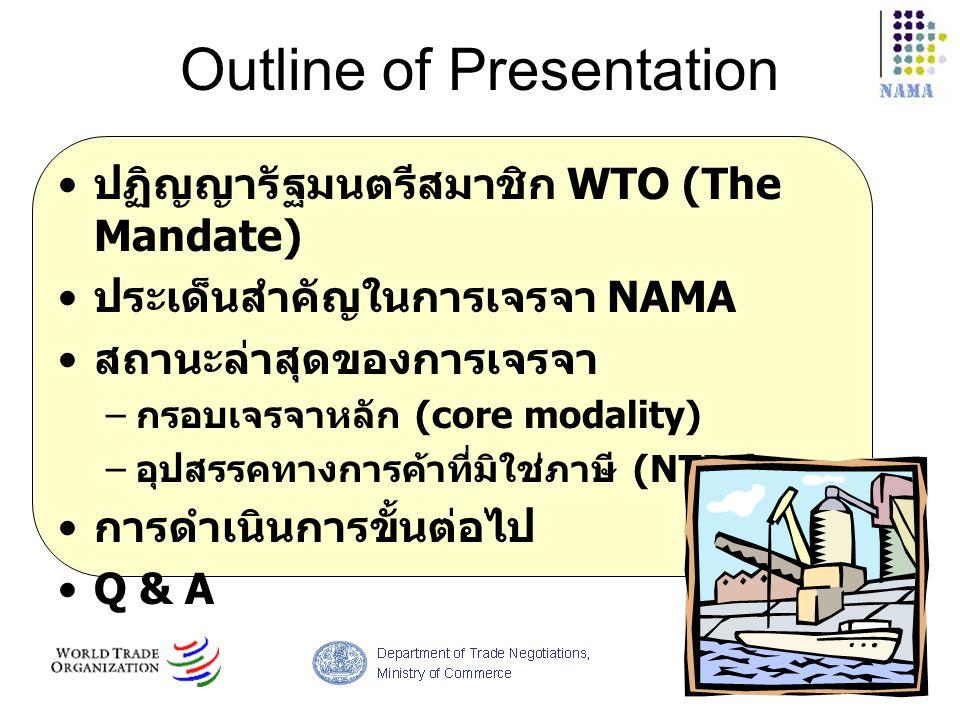 Outline of Presentation ปฏิญญารัฐมนตรีสมาชิก WTO (The Mandate) ประเด็นสำคัญในการเจรจา NAMA สถานะล่าสุดของการเจรจา – กรอบเจรจาหลัก (core modality) – อุ