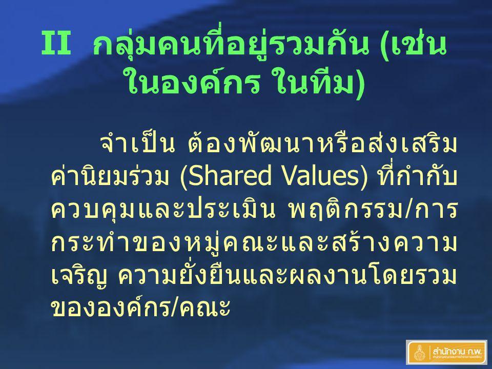 II กลุ่มคนที่อยู่รวมกัน ( เช่น ในองค์กร ในทีม ) จำเป็น ต้องพัฒนาหรือส่งเสริม ค่านิยมร่วม (Shared Values) ที่กำกับ ควบคุมและประเมิน พฤติกรรม / การ กระทำของหมู่คณะและสร้างความ เจริญ ความยั่งยืนและผลงานโดยรวม ขององค์กร / คณะ