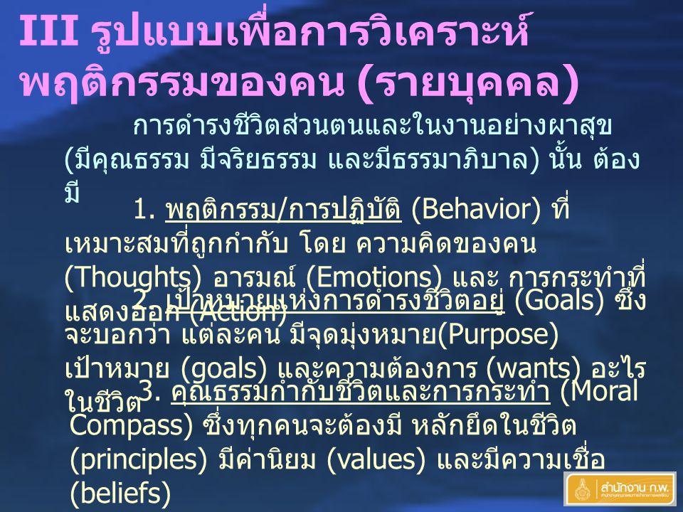 III รูปแบบเพื่อการวิเคราะห์ พฤติกรรมของคน ( รายบุคคล ) การดำรงชีวิตส่วนตนและในงานอย่างผาสุข ( มีคุณธรรม มีจริยธรรม และมีธรรมาภิบาล ) นั้น ต้อง มี 1.