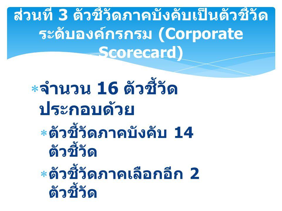 ส่วนที่ 3 ตัวชี้วัดภาคบังคับเป็นตัวชี้วัด ระดับองค์กรกรม (Corporate Scorecard)  จำนวน 16 ตัวชี้วัด ประกอบด้วย  ตัวชี้วัดภาคบังคับ 14 ตัวชี้วัด  ตัว