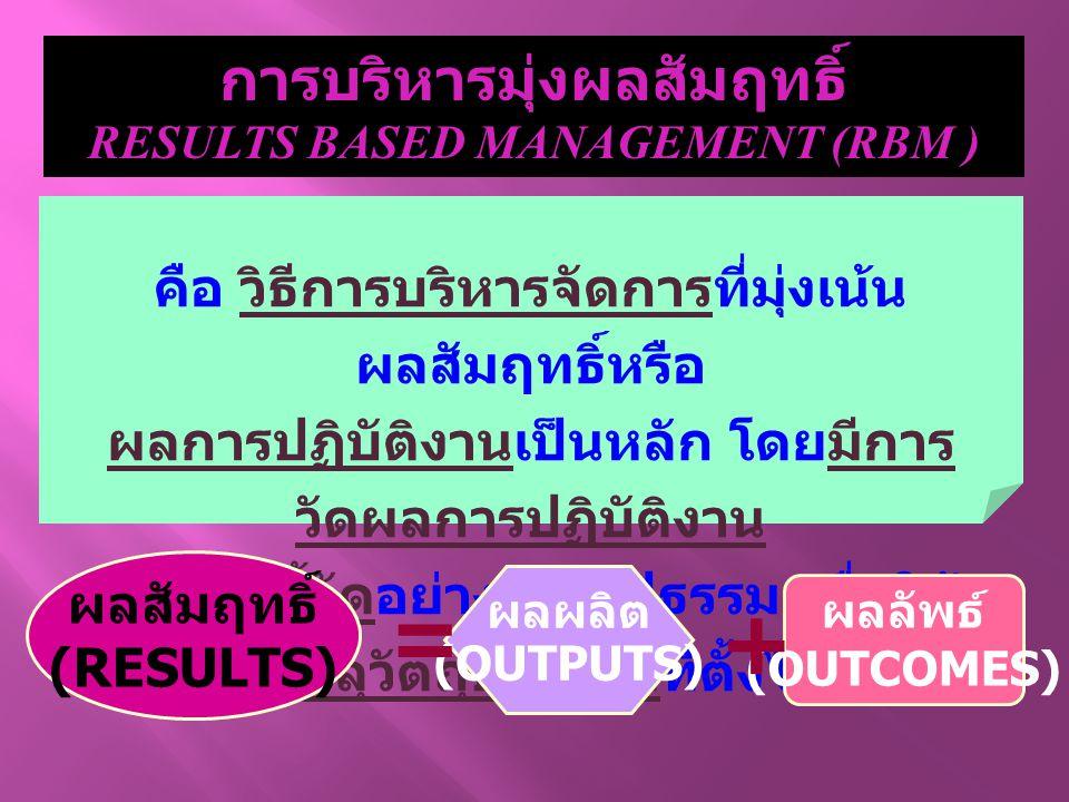การบริหารมุ่งผลสัมฤทธิ์ RESULTS BASED MANAGEMENT (RBM ) คือ วิธีการบริหารจัดการที่มุ่งเน้น ผลสัมฤทธิ์หรือ ผลการปฏิบัติงานเป็นหลัก โดยมีการ วัดผลการปฏิ