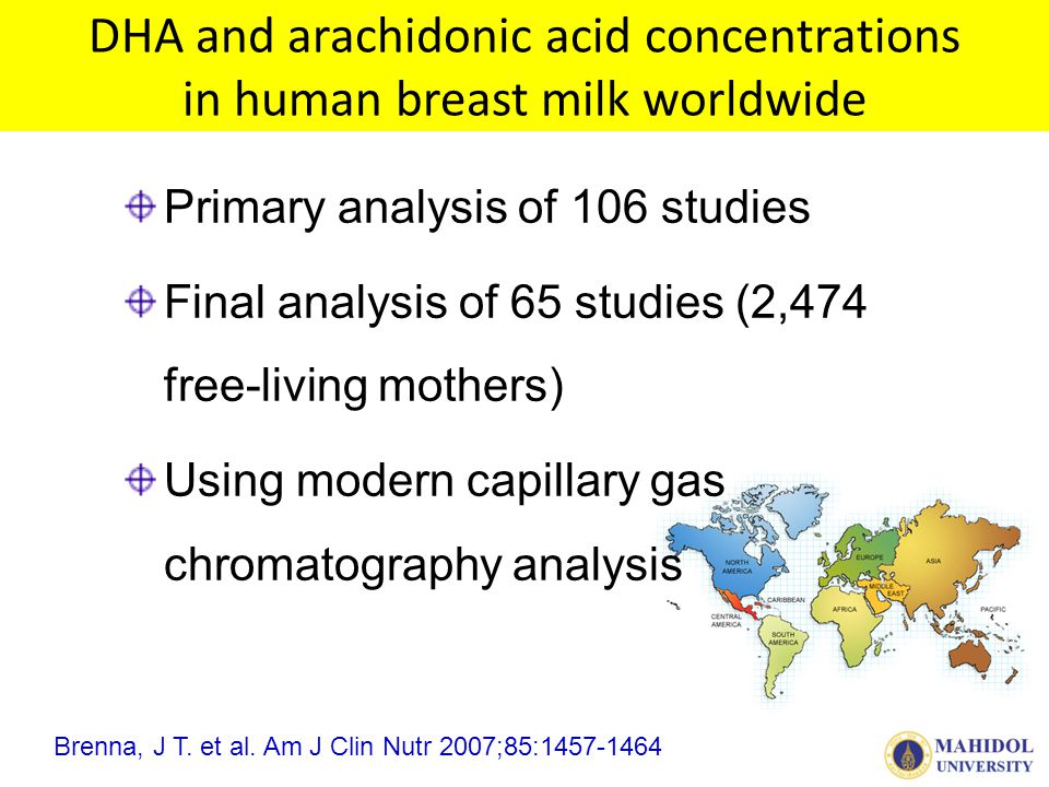 DHA and arachidonic acid concentrations in human breast milk worldwide Primary analysis of 106 studies Final analysis of 65 studies (2,474 free-living