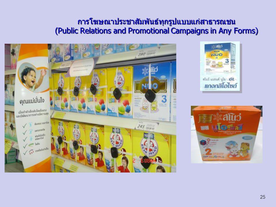 การโฆษณาประชาสัมพันธ์ทุกรูปแบบแก่สาธารณชน (Public Relations and Promotional Campaigns in Any Forms) 26