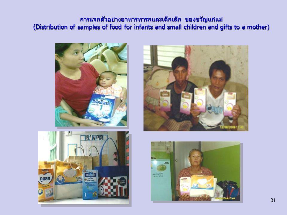 การแจกตัวอย่างอาหารทารกและเด็กเล็ก ของขวัญแก่แม่ (Distribution of samples of food for infants and small children and gifts to a mother) 32