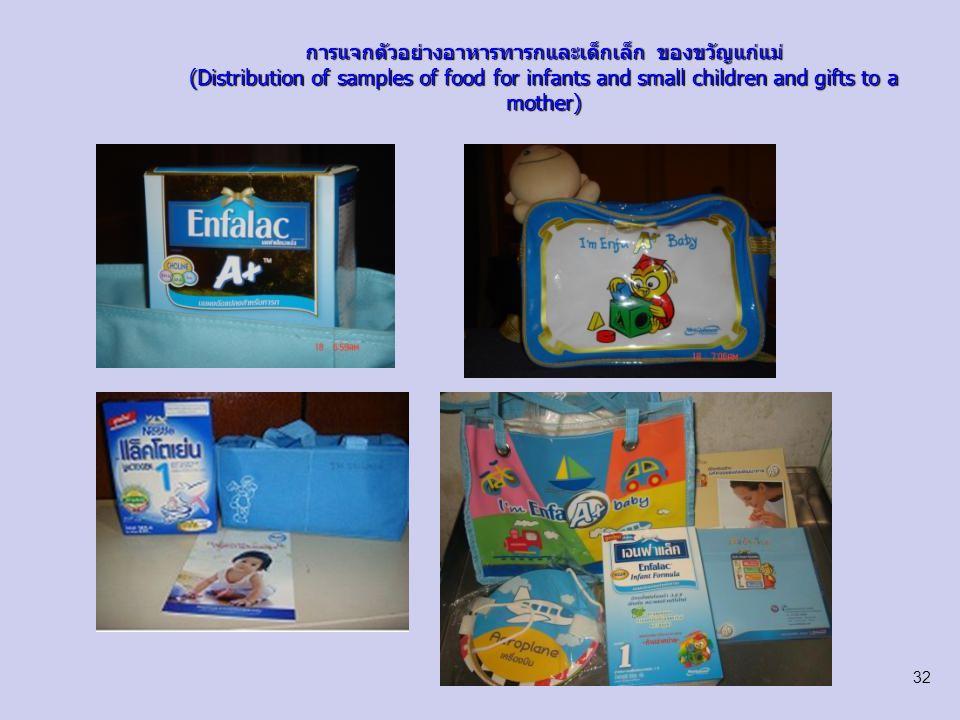 การแจกตัวอย่างอาหารทารกและเด็กเล็ก ของขวัญแก่แม่ (Distribution of samples of food for infants and small children and gifts to a mother) 33