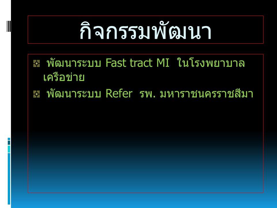 กิจกรรมพัฒนา พัฒนาระบบ Fast tract MI ในโรงพยาบาล เครือข่าย พัฒนาระบบ Refer รพ. มหาราชนครราชสีมา