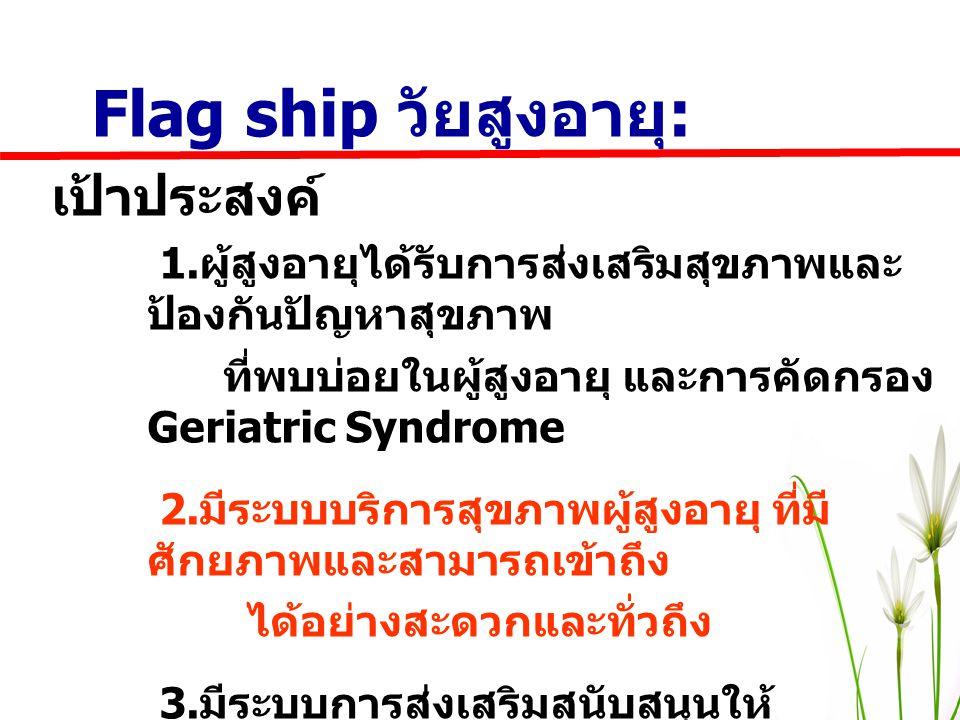 Flag ship วัยสูงอายุ : เป้าประสงค์ 1. ผู้สูงอายุได้รับการส่งเสริมสุขภาพและ ป้องกันปัญหาสุขภาพ ที่พบบ่อยในผู้สูงอายุ และการคัดกรอง Geriatric Syndrome 2