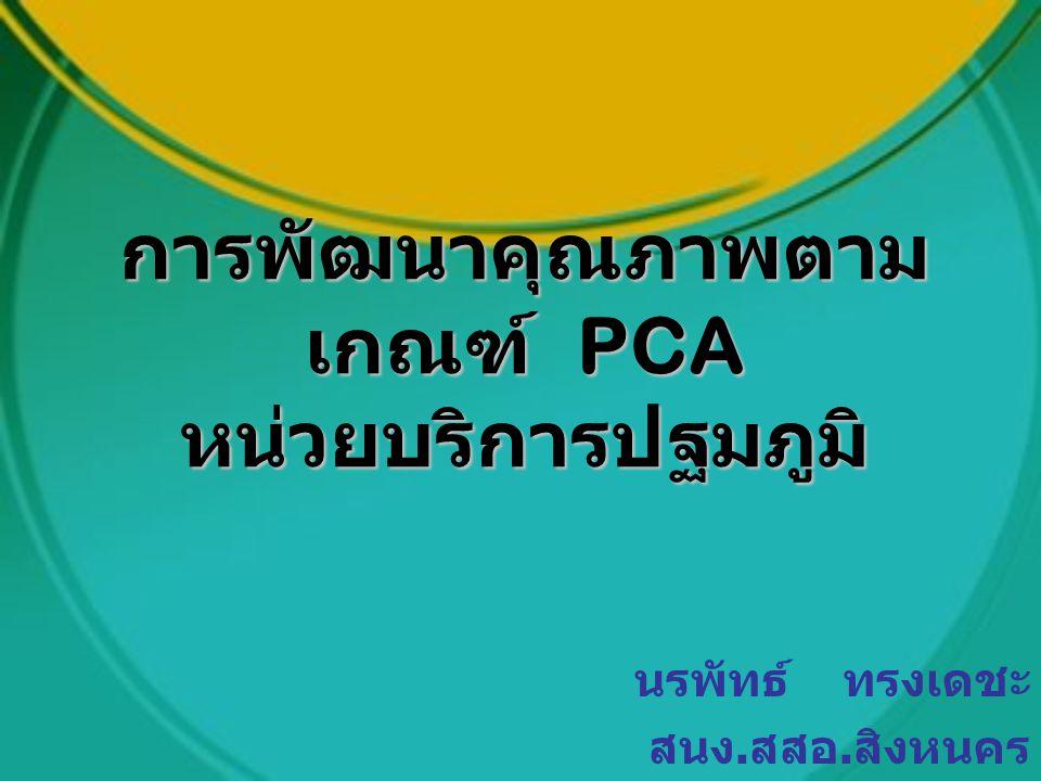 การพัฒนาคุณภาพตาม เกณฑ์ PCA หน่วยบริการปฐมภูมิ นรพัทธ์ ทรงเดชะ สนง. สสอ. สิงหนคร
