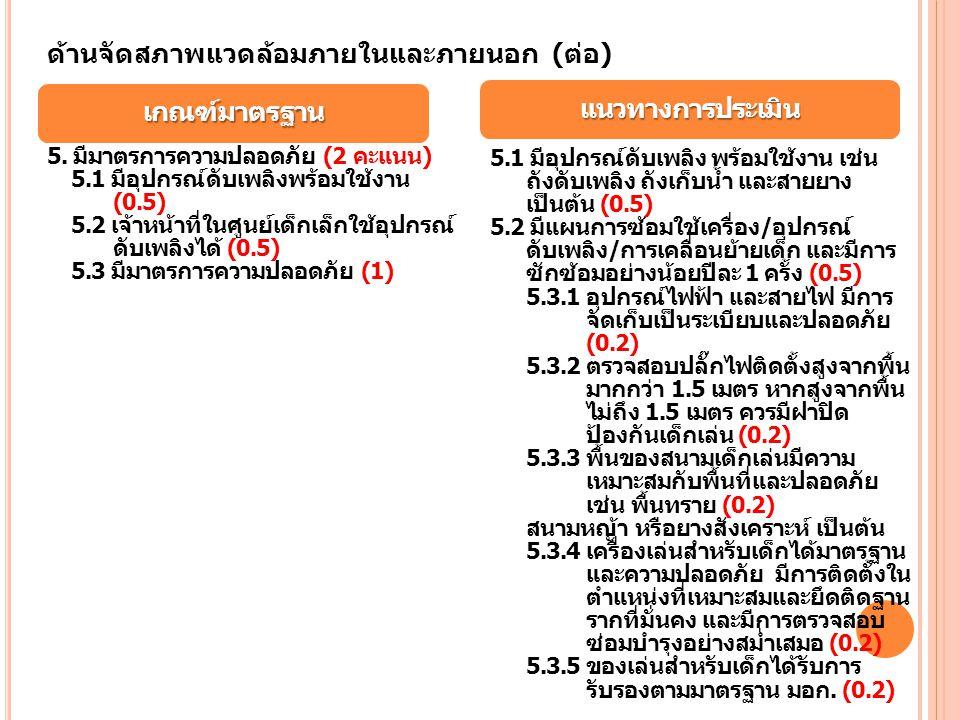 แนวทางการประเมิน เกณฑ์มาตรฐาน ด้านจัดสภาพแวดล้อมภายในและภายนอก (ต่อ) 5. มีมาตรการความปลอดภัย (2 คะแนน) 5.1 มีอุปกรณ์ดับเพลิงพร้อมใช้งาน (0.5) 5.2 เจ้า