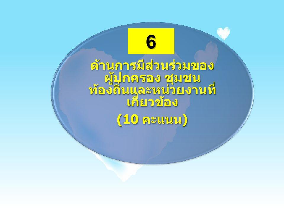 ด้านการมีส่วนร่วมของ ผู้ปกครอง ชุมชน ท้องถิ่นและหน่วยงานที่ เกี่ยวข้อง (10 คะแนน) 6
