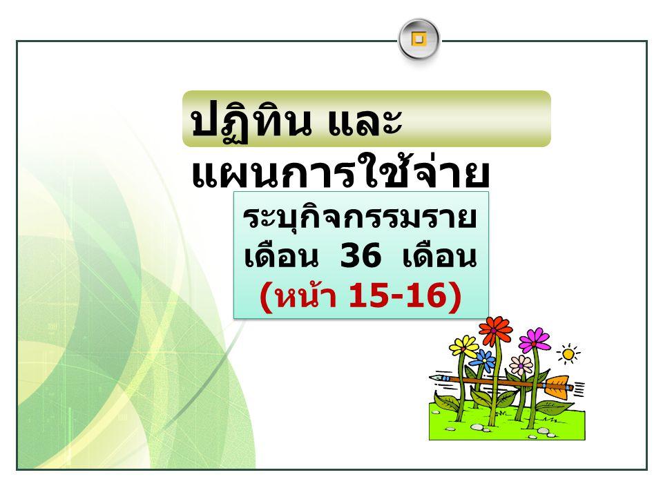 www.themegallery.com LOGO ระบุกิจกรรมราย เดือน 36 เดือน ( หน้า 15-16) ระบุกิจกรรมราย เดือน 36 เดือน ( หน้า 15-16) ปฏิทิน และ แผนการใช้จ่าย