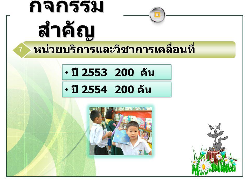 www.themegallery.com LOGO กิจกรรม สำคัญ ปี 2553200 คัน ปี 2554200 คัน หน่วยบริการและวิชาการเคลื่อนที่ 7
