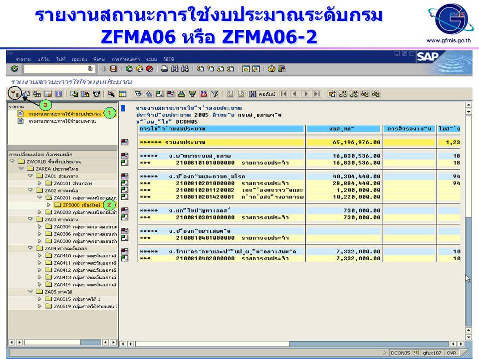www.gfmis.go.th รายงานสถานะการใช้งบประมาณระดับกรม ZFMA06 หรือ ZFMA06-2 รายงานสถานะการใช้งบประมาณระดับกรม ZFMA06 หรือ ZFMA06-2