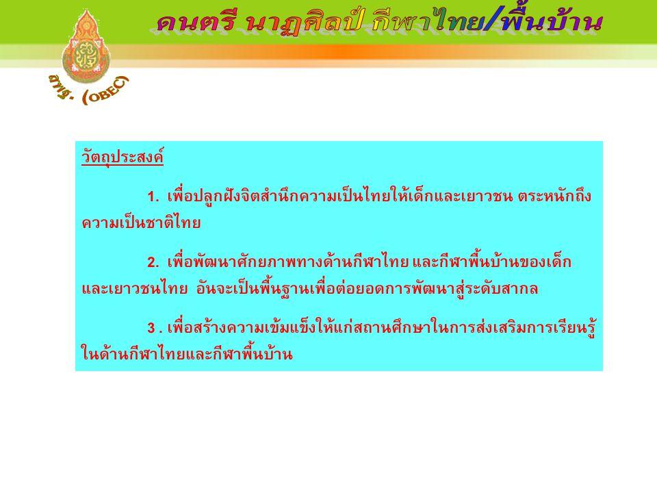 วัตถุประสงค์ 1. เพื่อปลูกฝังจิตสำนึกความเป็นไทยให้เด็กและเยาวชน ตระหนักถึง ความเป็นชาติไทย 2. เพื่อพัฒนาศักยภาพทางด้านกีฬาไทย และกีฬาพื้นบ้านของเด็ก แ