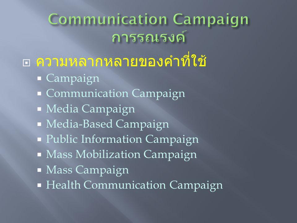  ความหลากหลายของคำที่ใช้  Campaign  Communication Campaign  Media Campaign  Media-Based Campaign  Public Information Campaign  Mass Mobilization Campaign  Mass Campaign  Health Communication Campaign