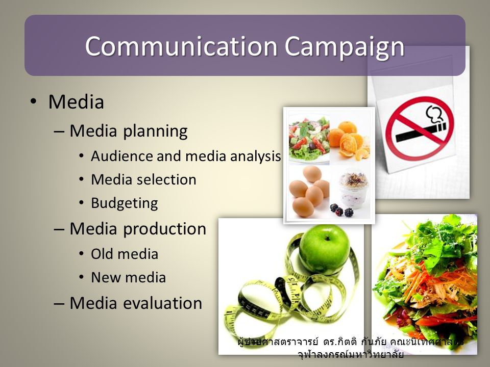 Communication Campaign Media – Media planning Audience and media analysis Media selection Budgeting – Media production Old media New media – Media eva