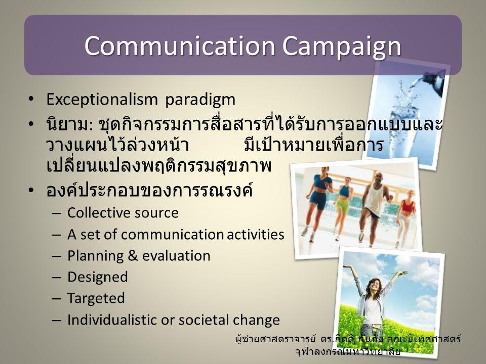 Research on Communication Campaign – All level of analysis: individual; institutional; societal – ผลกระทบของการรณรงค์เกิดที่ระดับปัจเจก – การรณรงค์เกี่ยวข้องกับการสื่อสารตั้งแต่ระดับ interpersonal ไปจนถึง social network – ในระดับสถาบัน การวิจัยการรณรงค์สนใจประเด็น โครงสร้างและหน้าที่ของชุมชน – ในระดับ macro สนใจประเด็นโครงสร้างเศรษฐกิจ และสังคมที่มีอิทธิพลต่อกระบวนการและผลการ รณรงค์ ผู้ช่วยศาสตราจารย์ ดร.
