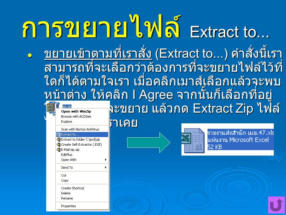 การขยายไฟล์ Extract to... ขยายเข้าตามที่เราสั่ง (Extract to...) คำสั่งนี้เรา สามารถที่จะเลือกว่าต้องการที่จะขยายไฟล์ไว้ที่ ใดก็ได้ตามใจเรา เมื่อคลิกเม