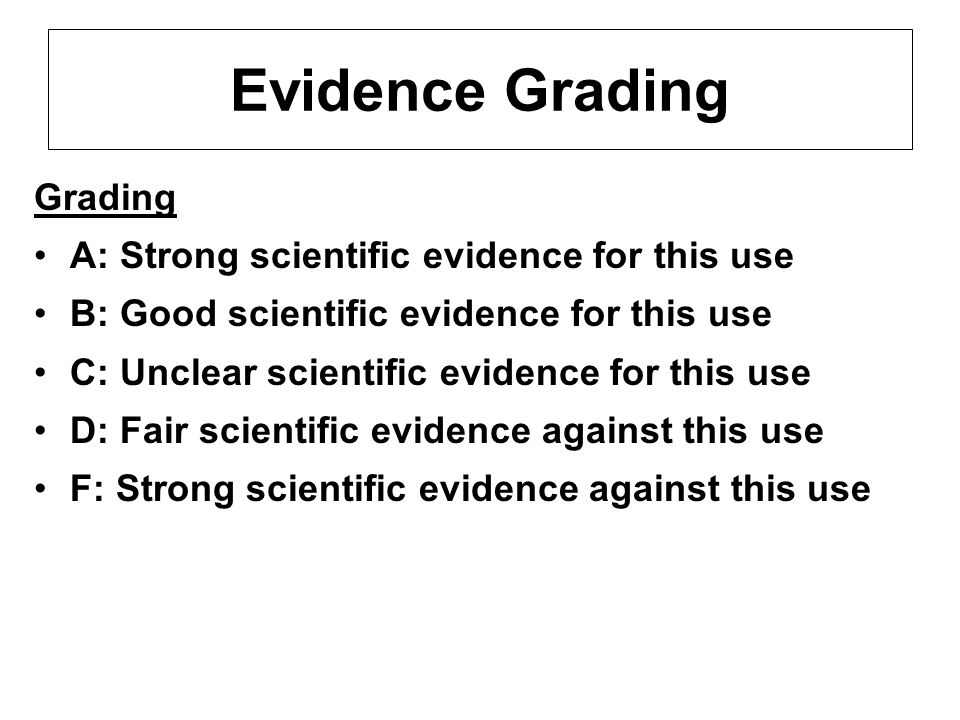 Evidence Grading Grading A: Strong scientific evidence for this use B: Good scientific evidence for this use C: Unclear scientific evidence for this u
