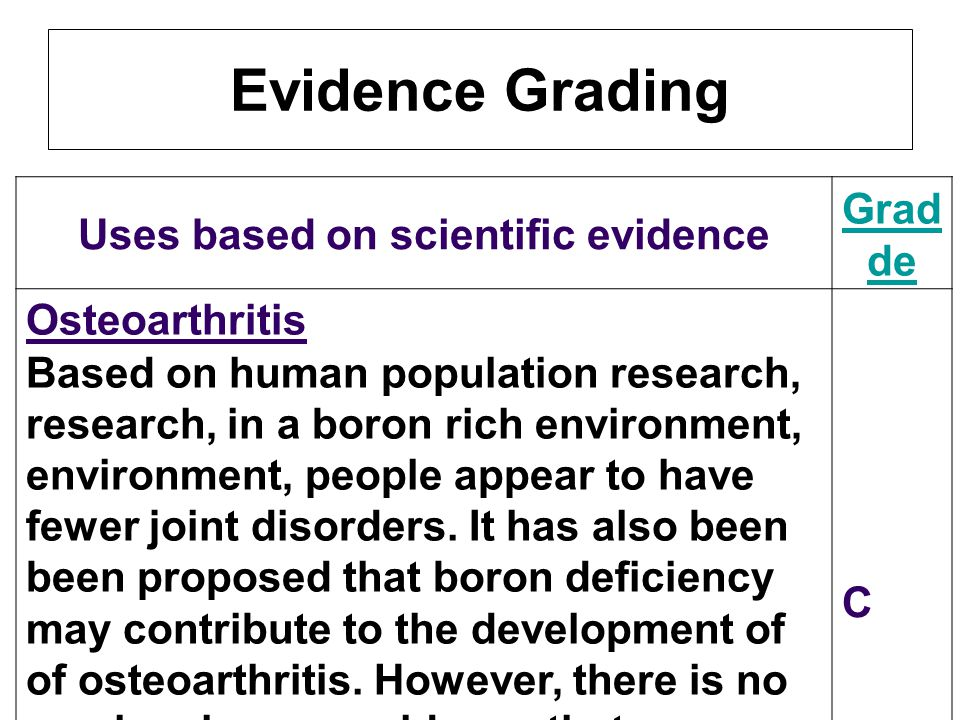 Uses based on scientific evidence Gra de Osteoarthritis Based on human population research, in a boron rich environment, people appear to have fewer j
