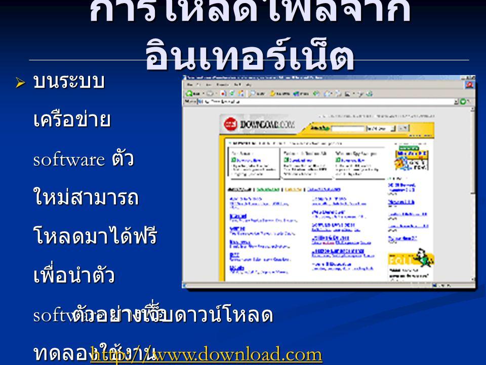 การโหลดไฟล์จาก อินเทอร์เน็ต  บนระบบ เครือข่าย software ตัว ใหม่สามารถ โหลดมาได้ฟรี เพื่อนำตัว software มาเพื่อ ทดลองใช้งาน ตัวอย่างเว็บดาวน์โหลด http://www.download.com http://www.download.com http://www.freeware.com http://www.freeware.comhttp://www.freeware.com