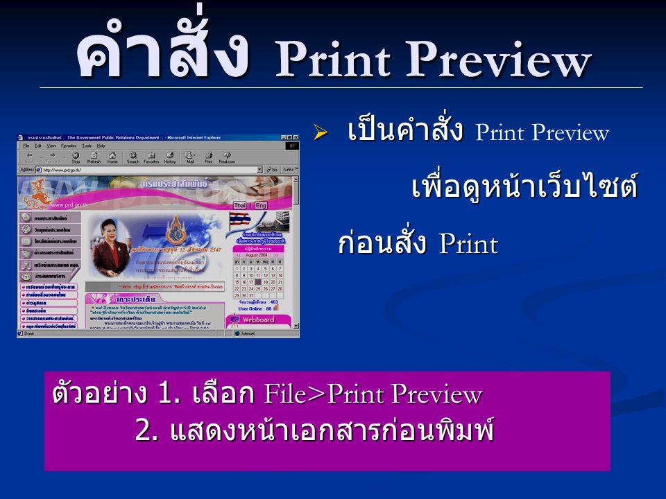 คำสั่ง Print Preview  เป็นคำสั่ง เพื่อดูหน้าเว็บไซต์ ก่อนสั่ง Print  เป็นคำสั่ง Print Preview เพื่อดูหน้าเว็บไซต์ ก่อนสั่ง Print ตัวอย่าง 1.