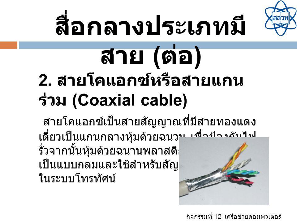 กิจกรรมที่ 12 เครือข่ายคอมพิวเตอร์ สื่อกลางประเภทมี สาย ( ต่อ ) 2. สายโคแอกซ์หรือสายแกน ร่วม (Coaxial cable) สายโคแอกซ์เป็นสายสัญญาณที่มีสายทองแดง เดี