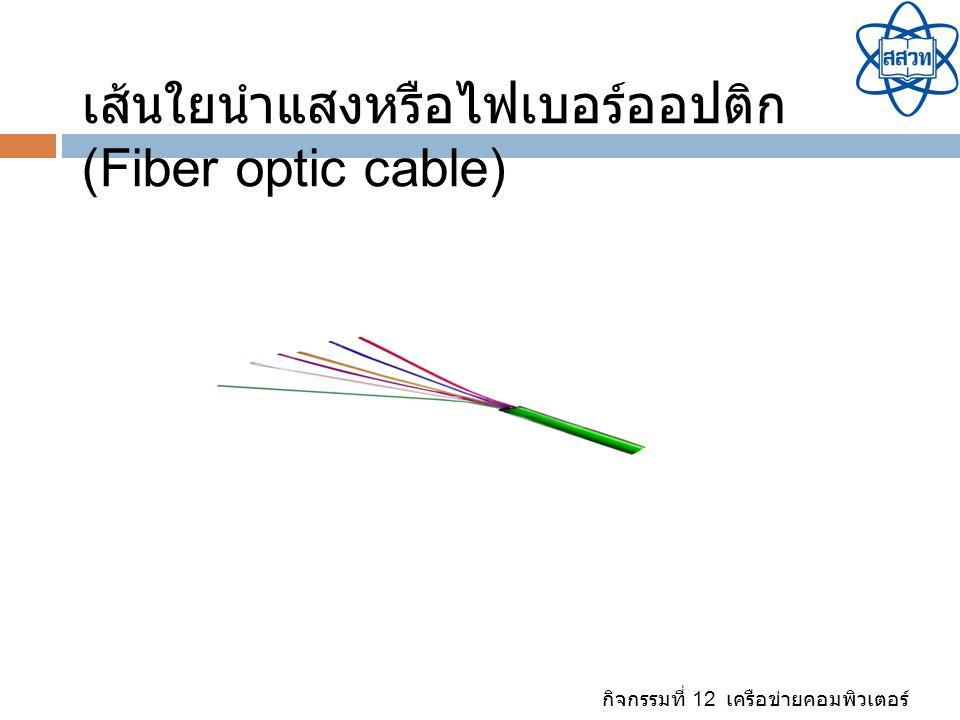 กิจกรรมที่ 12 เครือข่ายคอมพิวเตอร์ สื่อกลางประเภทไร้ สาย (Wireless) เป็นการสื่อสารข้อมูลโดยอาศัยการ ส่งสัญญาณไปกับคลื่น แม่เหล็กไฟฟ้า ซึ่งทำหน้าที่เป็น ตัวกลางนำสัญญาณ