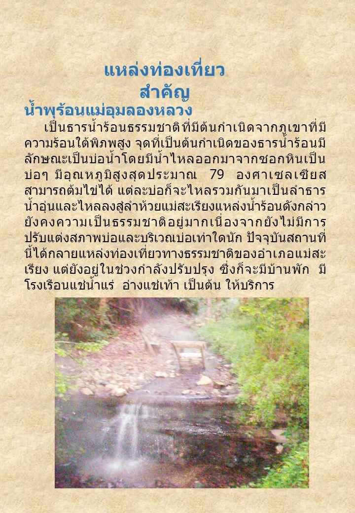 แหล่งท่องเที่ยว สำคัญ น้ำพุร้อนแม่อุมลองหลวง เป็นธารน้ำร้อนธรรมชาติที่มีต้นกำเนิดจากภูเขาที่มี ความร้อนใต้พิภพสูง จุดที่เป็นต้นกำเนิดของธารน้ำร้อนมี ลักษณะเป็นบ่อน้ำโดยมีน้ำไหลออกมาจากซอกหินเป็น บ่อๆ มีอุณหภูมิสูงสุดประมาณ 79 องศาเซลเซียส สามารถต้มไข่ได้ แต่ละบ่อก็จะไหลรวมกันมาเป็นลำธาร น้ำอุ่นและไหลลงสู่ลำห้วยแม่สะเรียงแหล่งน้ำร้อนดังกล่าว ยังคงความเป็นธรรมชาติอยู่มากเนื่องจากยังไม่มีการ ปรับแต่งสภาพบ่อและบริเวณบ่อเท่าใดนัก ปัจจุบันสถานที่ นี้ได้กลายแหล่งท่องเที่ยวทางธรรมชาติของอำเภอแม่สะ เรียง แต่ยังอยู่ในช่วงกำลังปรับปรุง ซึ่งก็จะมีบ้านพัก มี โรงเรือนแช่น้ำแร่ อ่างแช่เท้า เป็นต้น ให้บริการ