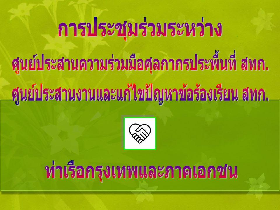 จัดประชุมร่วมกับผู้แทนท่าเรือ กรุงเทพ และผู้แทนภาคเอกชน คือ สมาคมชิปปิ้งแห่งประเทศไทย สมาคมตัวแทนออกของรับอนุญาต ไทย สมาคมเจ้าของและตัวแทนเรือ กรุงเทพ สมาคมผู้นำเข้าและ ผู้ส่งออกระดับบัตรทอง เมื่อวันอังคารที่ 26 สิงหาคม 2551 สำนักงานศุลกากร ท่าเรือกรุงเทพ โดย ศูนย์ประสานความ ร่วมมือศุลกากรประ พื้นที่ และ ศูนย์ ประสานงาน และแก้ไขปัญหาข้อ ร้องเรียน