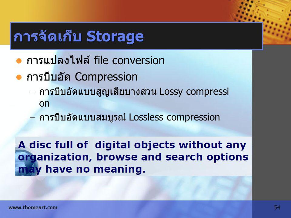 54 www.themeart.com การจัดเก็บ Storage การแปลงไฟล์ file conversion การบีบอัด Compression – การบีบอัดแบบสูญเสียบางส่วน Lossy compressi on – การบีบอัดแบ