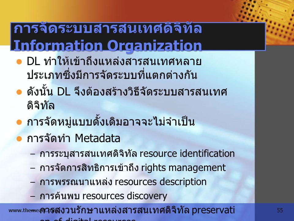 55 www.themeart.com การจัดระบบสารสนเทศดิจิทัล Information Organization DL ทำให้เข้าถึงแหล่งสารสนเทศหลาย ประเภทซึ่งมีการจัดระบบที่แตกต่างกัน ดังนั้น DL