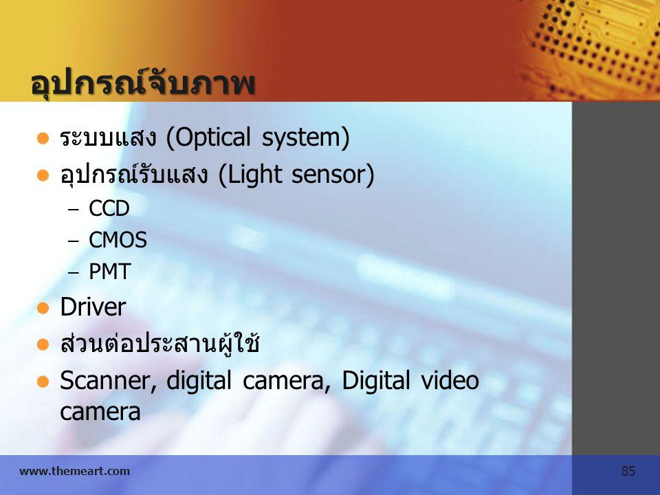 85 www.themeart.com อุปกรณ์จับภาพ ระบบแสง (Optical system) อุปกรณ์รับแสง (Light sensor) – CCD – CMOS – PMT Driver ส่วนต่อประสานผู้ใช้ Scanner, digital