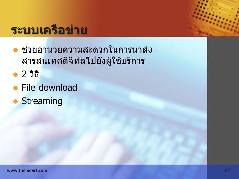 87 www.themeart.com ระบบเครือข่าย ช่วยอำนวยความสะดวกในการนำส่ง สารสนเทศดิจิทัลไปยังผู้ใช้บริการ 2 วิธี File download Streaming