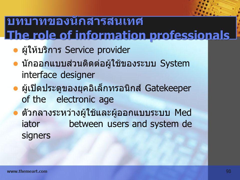 98 www.themeart.com บทบาทของนักสารสนเทศ The role of information professionals ผู้ให้บริการ Service provider นักออกแบบส่วนติดต่อผู้ใช้ของระบบ System in