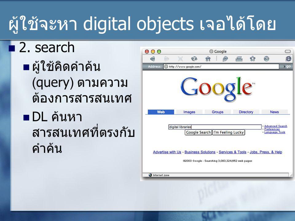 ผู้ใช้จะหา digital objects เจอได้โดย 2.