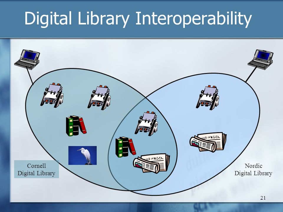 Digital Library Interoperability 21 Nordic Digital Library Cornell Digital Library