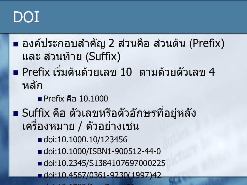 DOI องค์ประกอบสำคัญ 2 ส่วนคือ ส่วนต้น (Prefix) และ ส่วนท้าย (Suffix) Prefix เริ่มต้นด้วยเลข 10 ตามด้วยตัวเลข 4 หลัก Prefix คือ 10.1000 Suffix คือ ตัวเลขหรือตัวอักษรที่อยู่หลัง เครื่องหมาย / ตัวอย่างเช่น doi:10.1000.10/123456 doi:10.1000/ISBN1-900512-44-0 doi:10.2345/S1384107697000225 doi:10.4567/0361-9230(1997)42 doi:10.6789/JoesPaper56