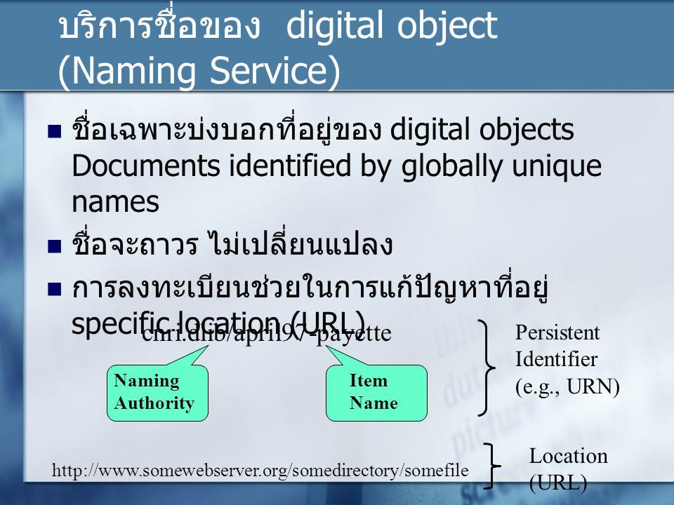 บริการชื่อของ digital object (Naming Service) ชื่อเฉพาะบ่งบอกที่อยู่ของ digital objects Documents identified by globally unique names ชื่อจะถาวร ไม่เปลี่ยนแปลง การลงทะเบียนช่วยในการแก้ปัญหาที่อยู่ specific location (URL) cnri.dlib/april97-payette http://www.somewebserver.org/somedirectory/somefile Naming Authority Item Name Persistent Identifier (e.g., URN) Location (URL)